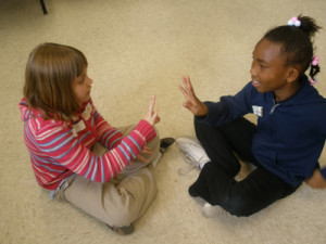 Students collaborate on a drama lesson in Davenport, IA.