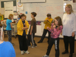 Students at Solomon Schechter School participate in an anti-bullying workshop.